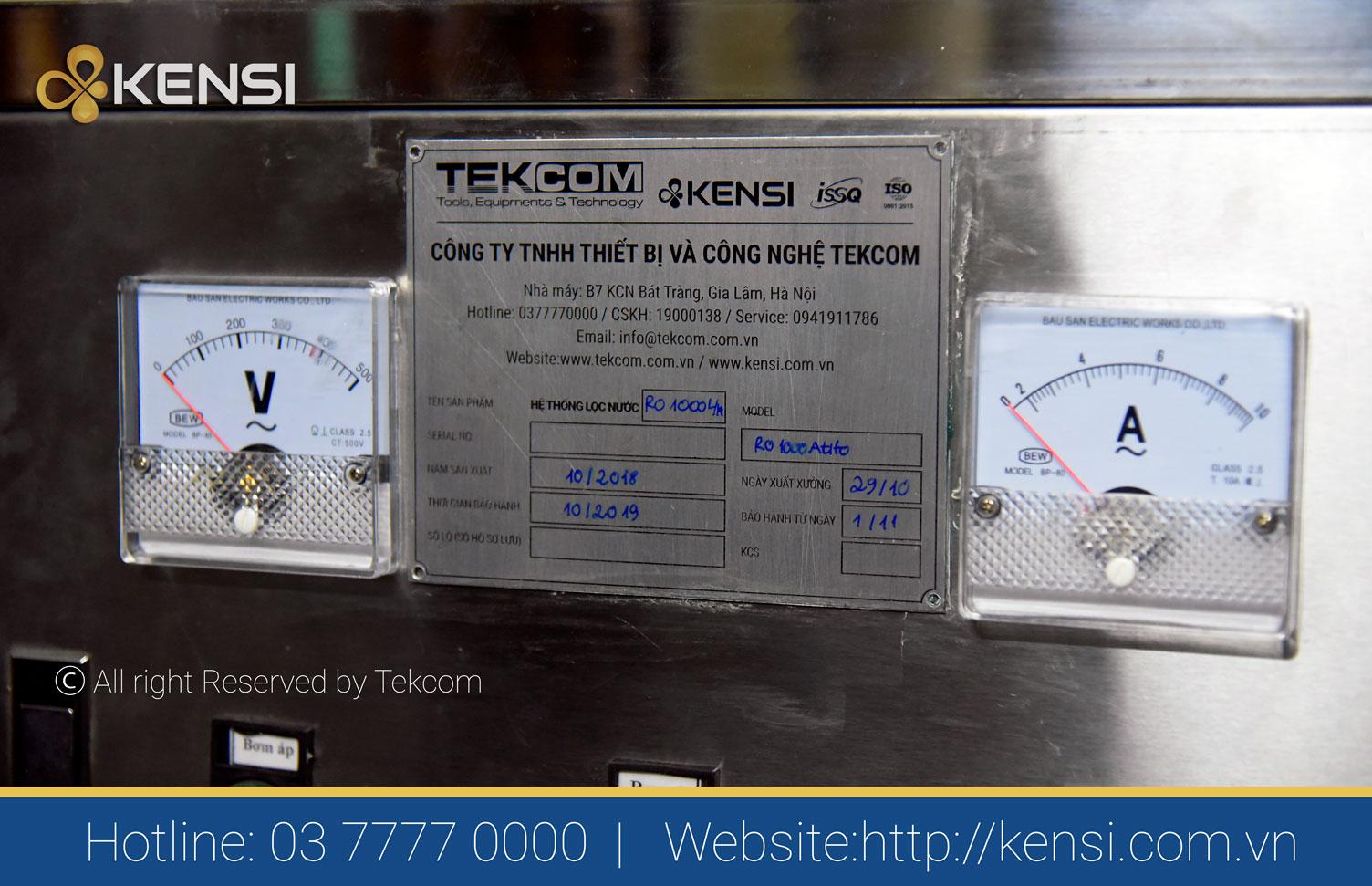 Hệ thống lọc nước công nghiệp RO do Tekcom lắp đặt